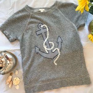 J Crew Short  Sleeve Anchor Sweatshirt